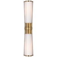 Carew Linear Sconce in Antique-Burnished Brass with White Glass