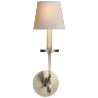 Symmetric Twist Single Sconce in Antique Nickel with Natural Paper Shade