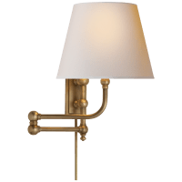 Pimlico Swing Arm in Antique-Burnished Brass with Natural Paper Shade