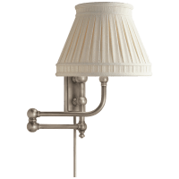 Pimlico Swing Arm in Antique Nickel with Linen Collar Shade