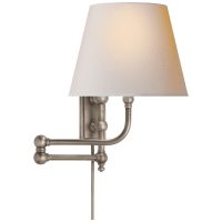 Pimlico Swing Arm in Antique Nickel with Natural Paper Shade