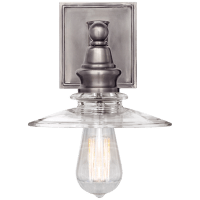 Covington Shield Sconce in Antique Nickel with Clear Glass