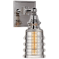 Covington Sconce in Polished Nickel with Clear Ribbed Narrow Glass