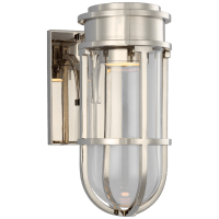 Gracie Tall Bracketed Sconce in Polished Nickel with Clear Glass