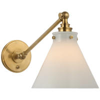 Parkington Single Library Wall Light in Antique-Burnished Brass with White Glass