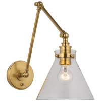 Parkington Double Library Wall Light in Antique-Burnished Brass with Clear Glass