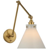 Parkington Double Library Wall Light in Antique-Burnished Brass with White Glass