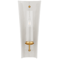 Downey Medium Reflector Sconce in White and Gild with Clear Glass