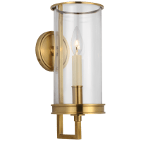 Glendon Small Hurricane Sconce in Antique-Burnished Brass with Clear Glass