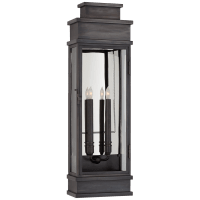 Linear Large Wall Lantern in Bronze with Clear Glass