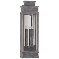 Linear Large Wall Lantern in Weathered Zinc with Clear Glass