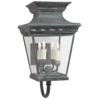 Elsinore Medium Bracket Lantern in Weathered Zinc with Clear Glass