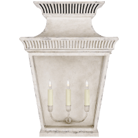Elsinore Extra Large 3/4 Wall Lantern in Old White with Clear Glass