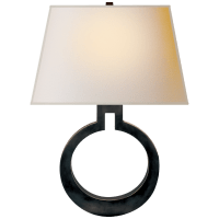 Ring Form Large Wall Sconce in Bronze with Natural Paper Shade