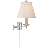 Dorchester Swing Arm in Polished Nickel with Silk Crown Shade