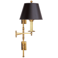 Dorchester Double Backplate Swing Arm in Antique-Burnished Brass with Black Paper Shade