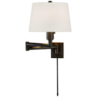 Chunky Swing Arm in Bronze with Linen Shade