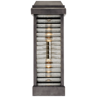 Dunmore Curved Glass Louver Sconce in Bronze with Clear Ribbed Glass