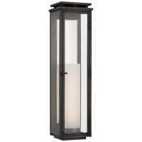 Cheshire Tall 3/4 Wall Lantern in Aged Iron with Clear Glass