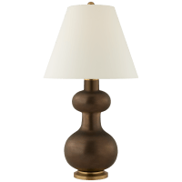 Chambers Medium Table Lamp in Matte Bronze with Natural Percale Shade