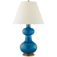 Chambers Large Table Lamp in Aqua Crackle with Natural Percale Shade