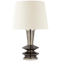 Whittaker Medium Table Lamp in Black Pearl with Linen Shade