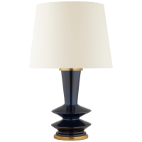 Whittaker Medium Table Lamp in Mixed Blue Brown with Linen Shade
