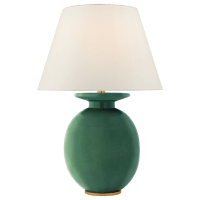 Hans Medium Table Lamp in Celtic Green Crackle with Linen Shade