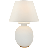 Hans Medium Table Lamp in Sandy White with Linen Shade