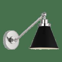 Wellfleet Single Arm Cone Task Sconce Midnight Black Polished Nickel
