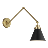 Wellfleet Double Arm Cone Task Sconce Midnight Black Burnished Brass