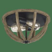 Allier Flush Mount Weathered Oak Wood / Antique Forged Iron