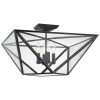 Lorino Large Semi-Flush Mount in Bronze with Clear Glass