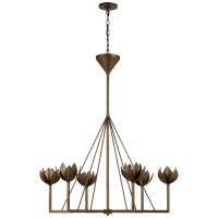 Alberto Large Single Tier Chandelier in Antique Bronze Leaf