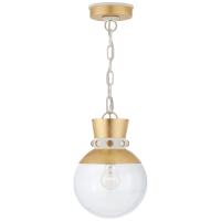 Lucia Small Pendant in Gild and White with Clear Glass