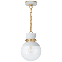 Lucia Small Pendant in Matte White and Gild with Clear Glass
