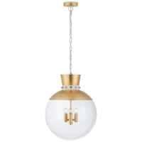 Lucia Large Pendant in Gild and White with Clear Glass