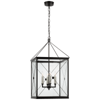 Rossi Medium Lantern in Bronze with Clear Glass