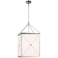 Rossi Medium Lantern in Polished Nickel with White Glass