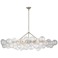 Talia Large Linear Chandelier in Burnished Silver Leaf with Clear Swirled Glass