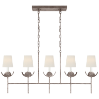 Illana Large Linear Chandelier in Burnished Silver Leaf with Linen Shade