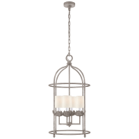 Illana Medium Lantern in Burnished Silver Leaf with Linen Shade