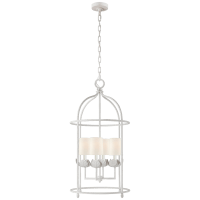 Illana Medium Lantern in Plaster White with Linen Shade