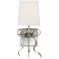 Ellery Gros-Grain Bow Small Sconce in Polished Nickel with Cream Linen Shade