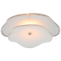 """Leighton 14"""" Layered Flush Mount in Polished Nickel with Cream Tinted Glass"""