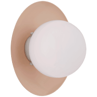 Boswell Small Sconce in Blush and Polished Nickel with White Glass