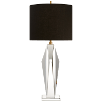 Castle Peak Table Lamp in Crystal with Black Linen Shade