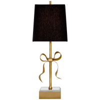 Ellery Gros-Grain Bow Table Lamp in Soft Brass and Mirror with Black Linen Shade