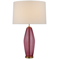 Everleigh Large Fluted Table Lamp in Orchid with Linen Shade