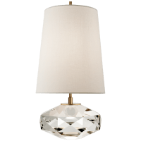 Castle Peak Glass Lamp  in Crystal with Cream Linen Shade